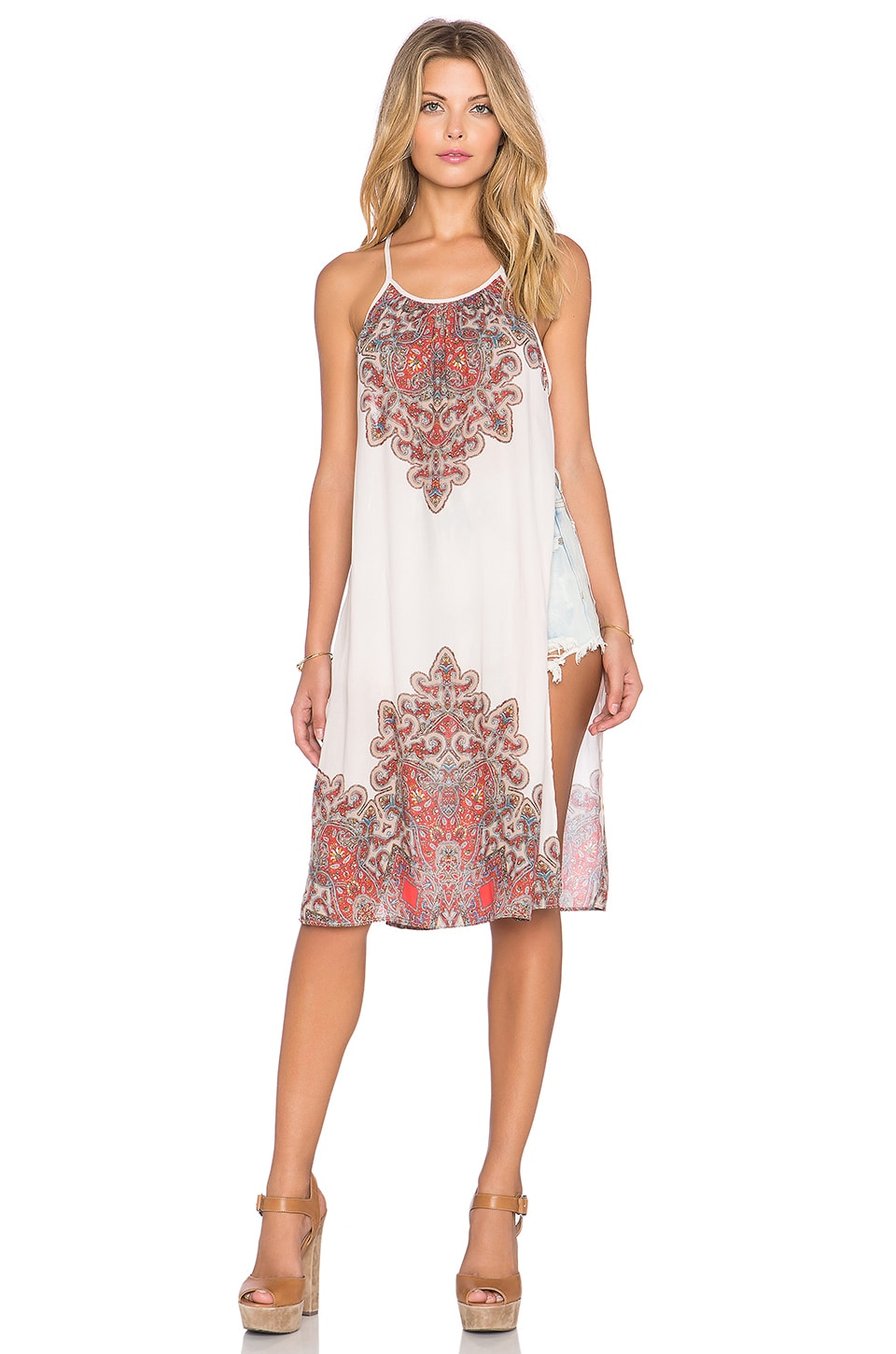 Free People Starry Sky Printed Tunic in Stone Combo