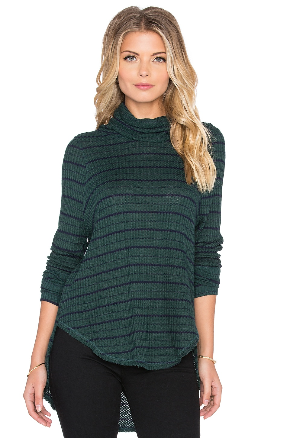 Free People Striped Drippy Thermal in Forest & Marine Combo