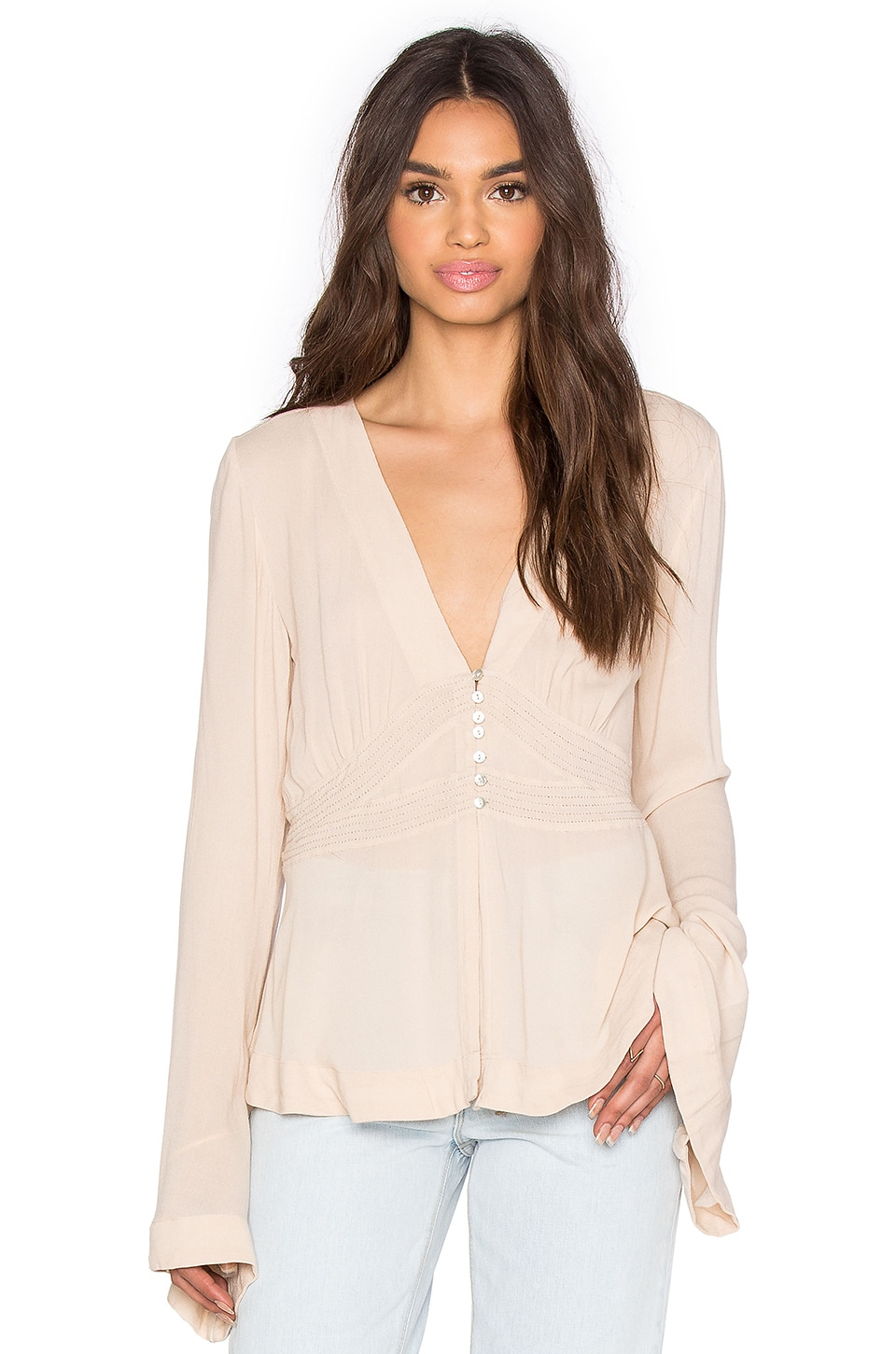 Free People Boho Sleeve Blouse in Pearl