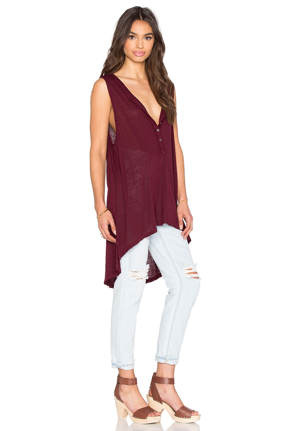 Free People Union Henley Top in Augergine