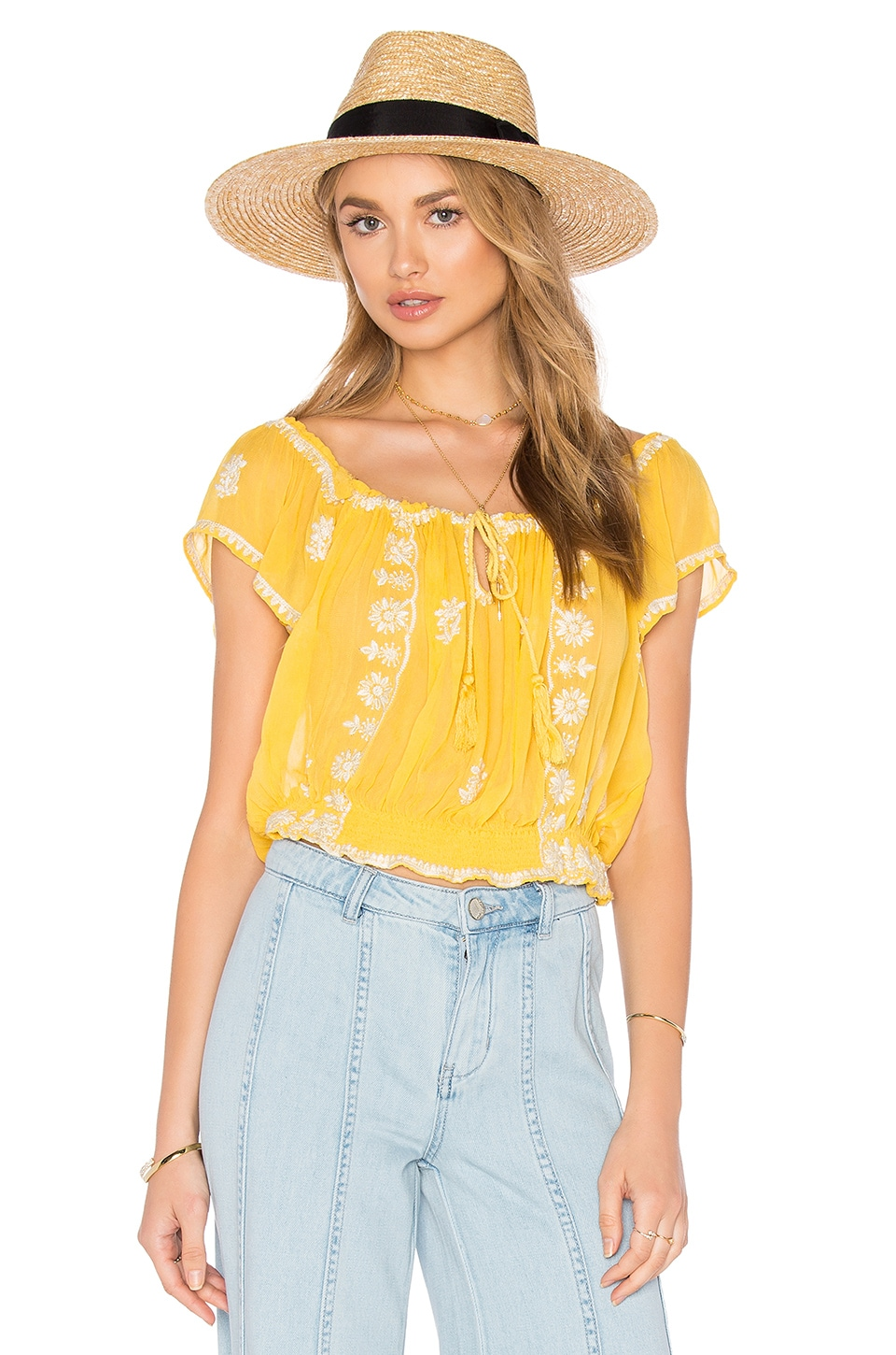 Free People Paisley Park Top in Sunshine Combo