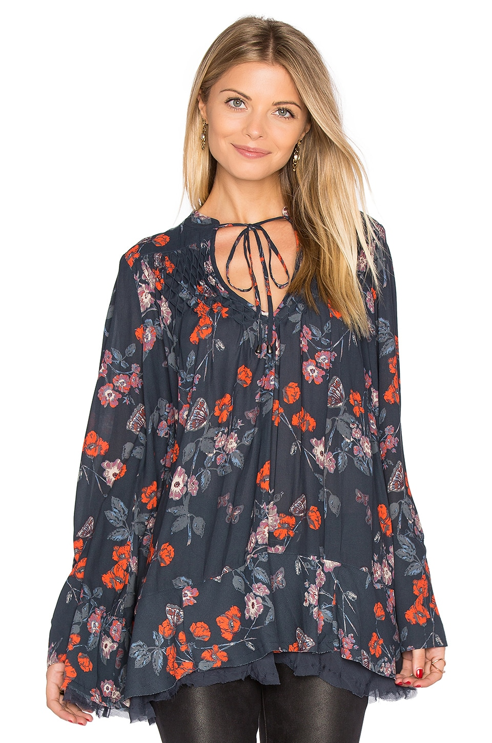 Free People Pebble Crepe So Fine Smoked Tunic Top in Navy