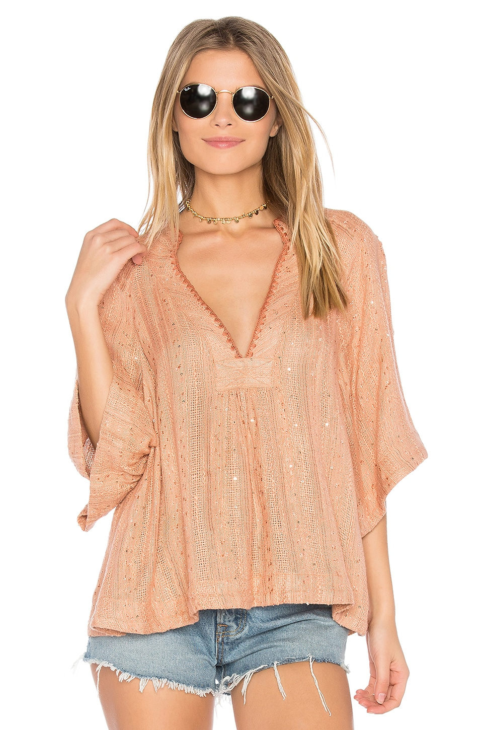 Free People Get Over It Striped Pullover in Peach