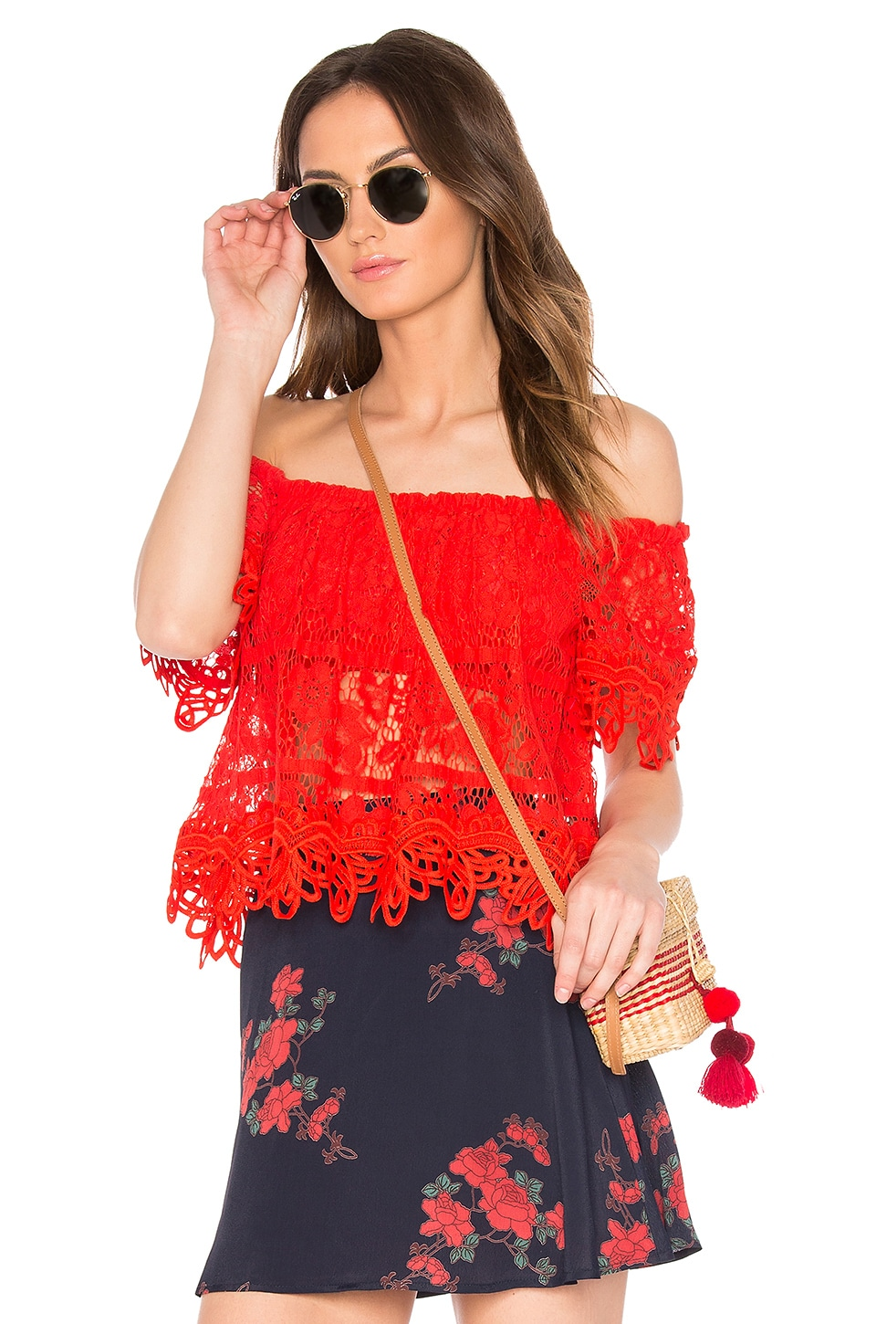 Free People Sweet Dreams Lace Crop Top in Bright Red
