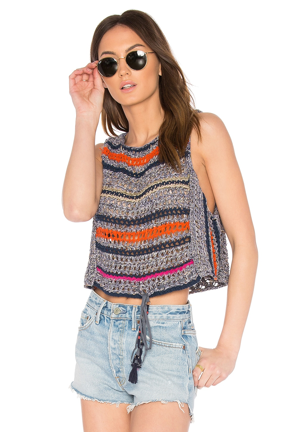 Free People Step Outside Tank in Blue Combo