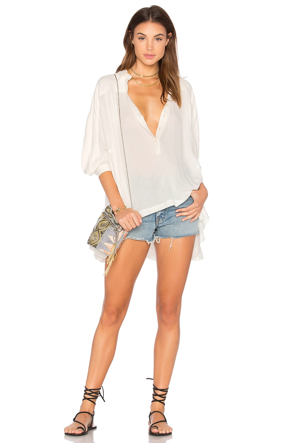 Lovely Day Button Down Top by Free People
