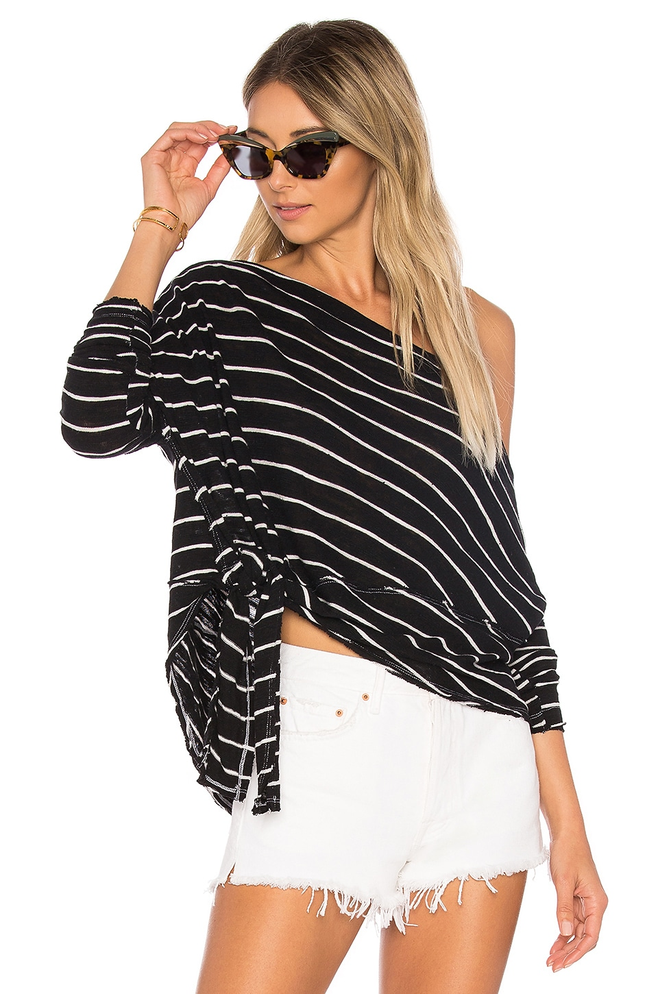 Free People Striped Love Lane Tee in Black