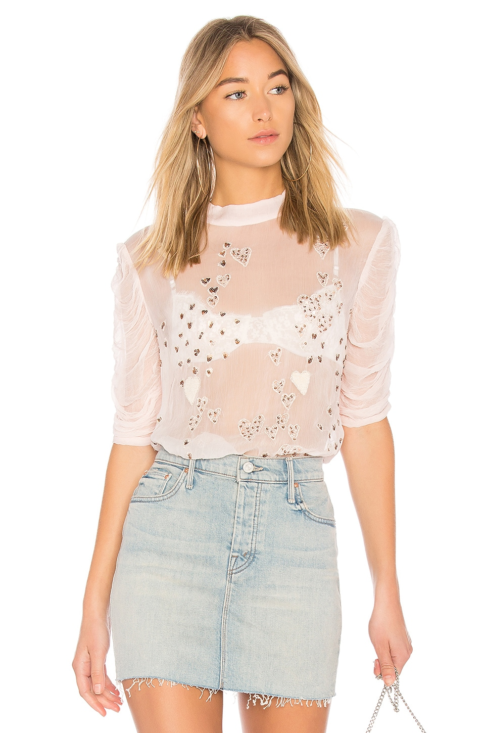 Free People So In Love Embroidered Blouse in Pink