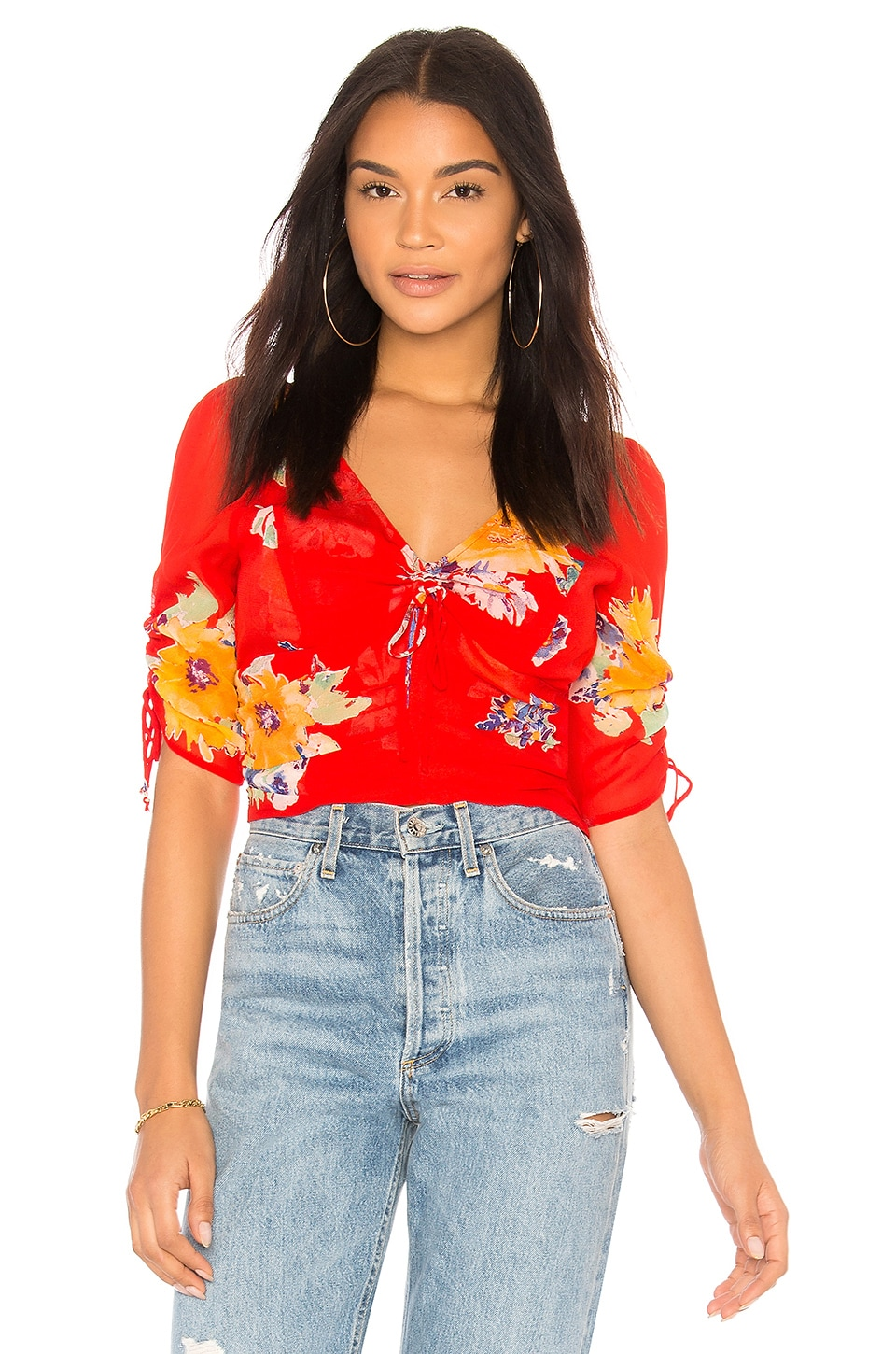 Free People Love To Love Blouse in Red
