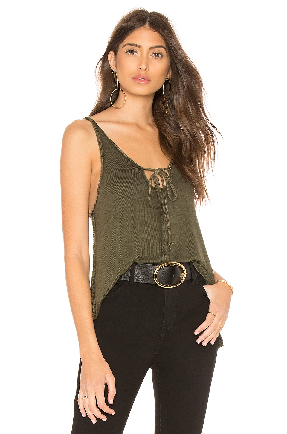 Free People Scarlett Tank in Olive