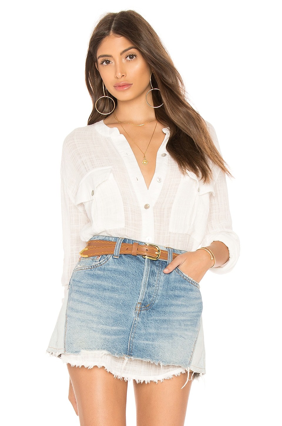 Free People Talk To Me Button Down in Ivory