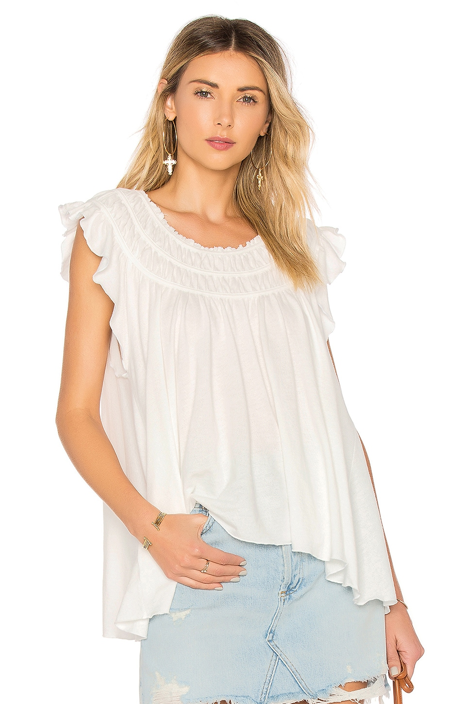 Free People Coconut Tee in Ivory