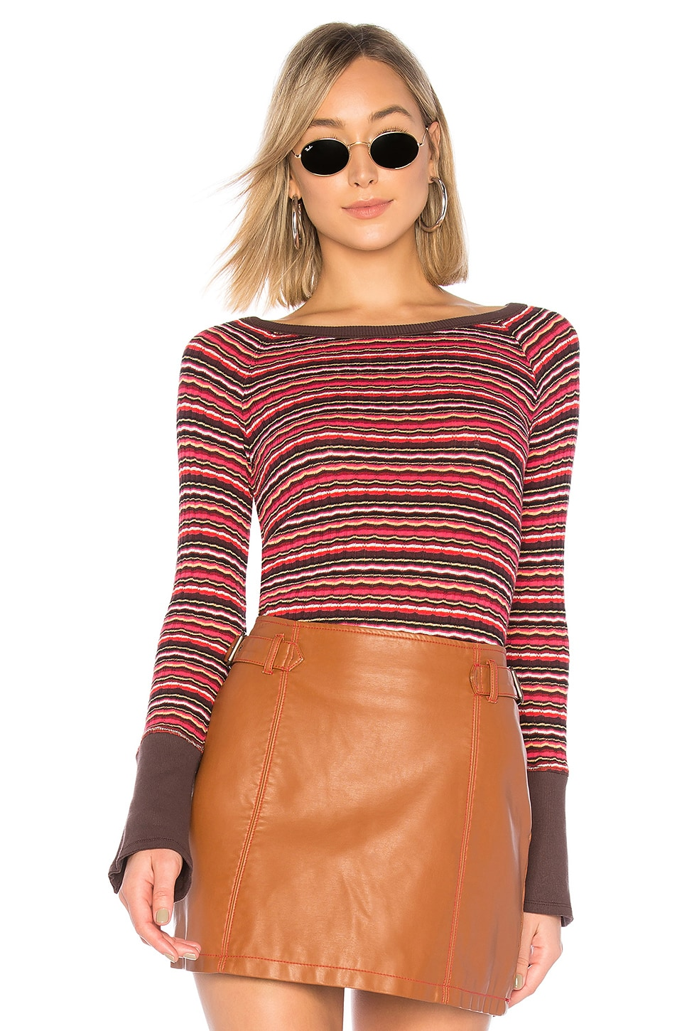 Free People Donna Tee in Wine