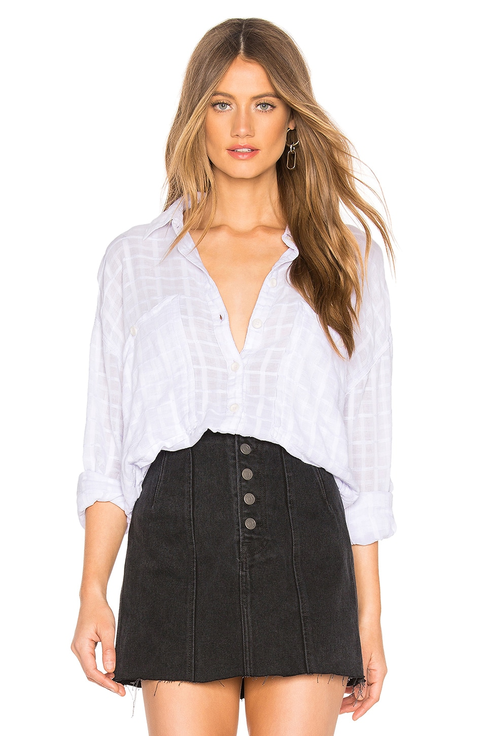 Free People Loveland Solid Button Down in Lavender