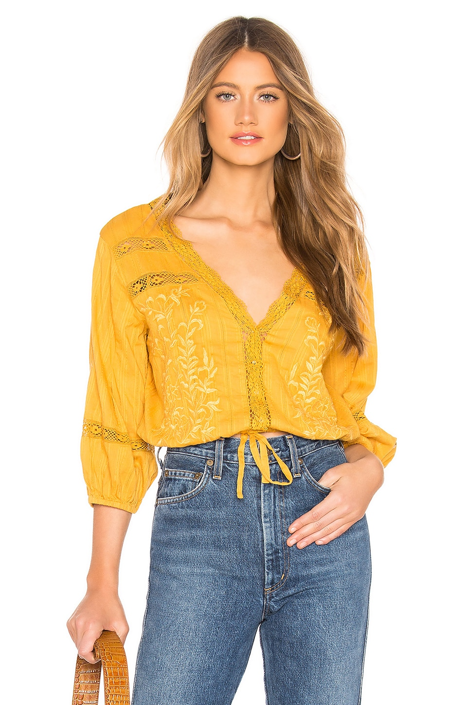 Free People Follow Your Heart Top in Gold