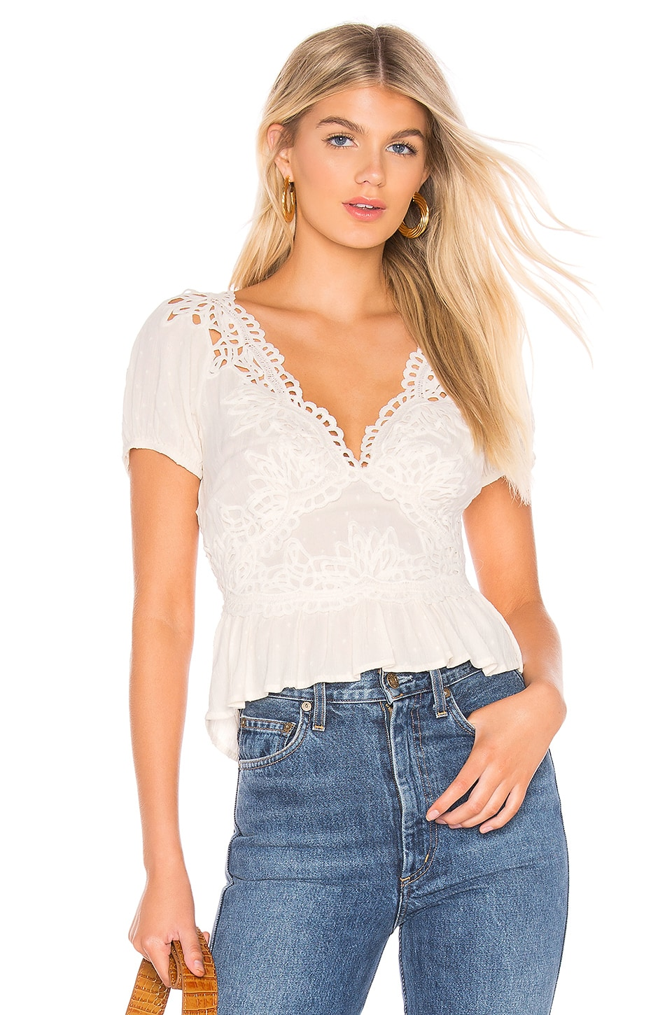 Free People Tops FREE PEOPLE SWEET ROSES BLOUSE IN WHITE.
