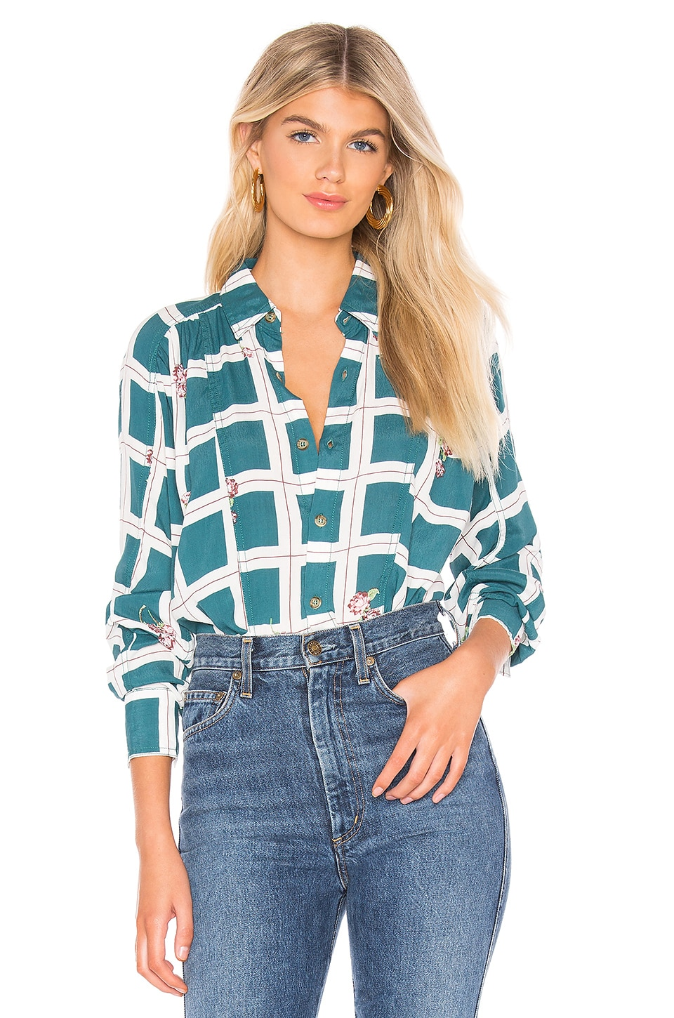 Free People Accessories Window To My Heart Button Down