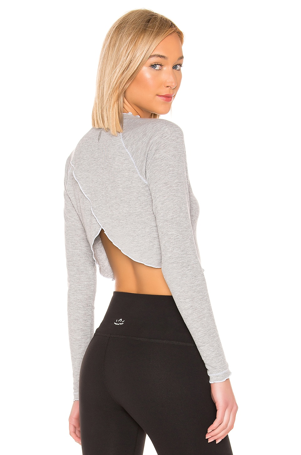 Free People Movement Rib and Stitch Casual Layering Tee in Grey Combo