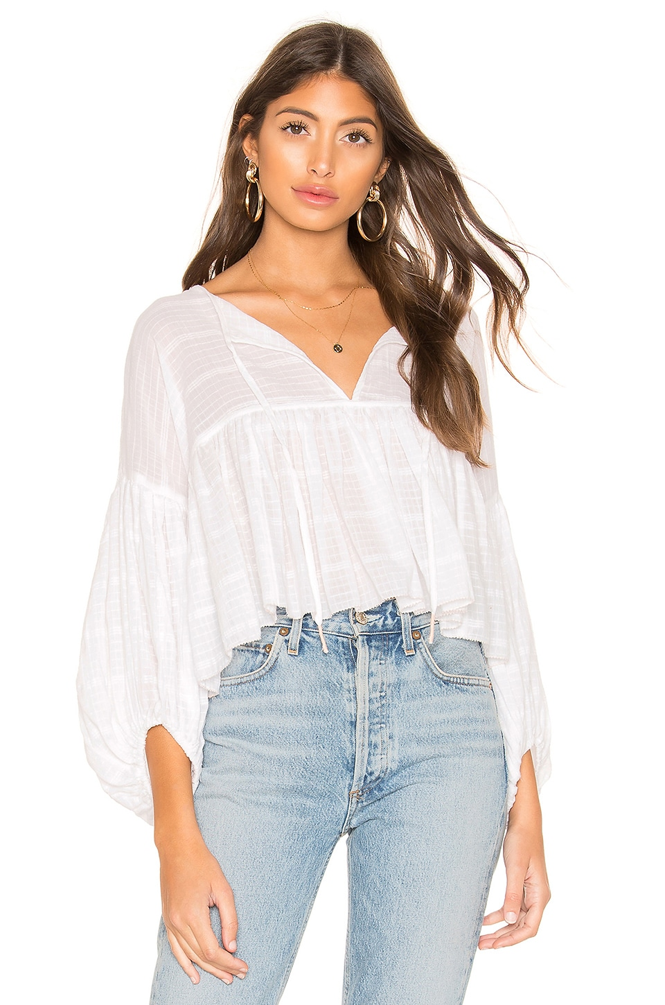 Free People Tops FREE PEOPLE BEAUMONT MEWS BLOUSE IN WHITE.
