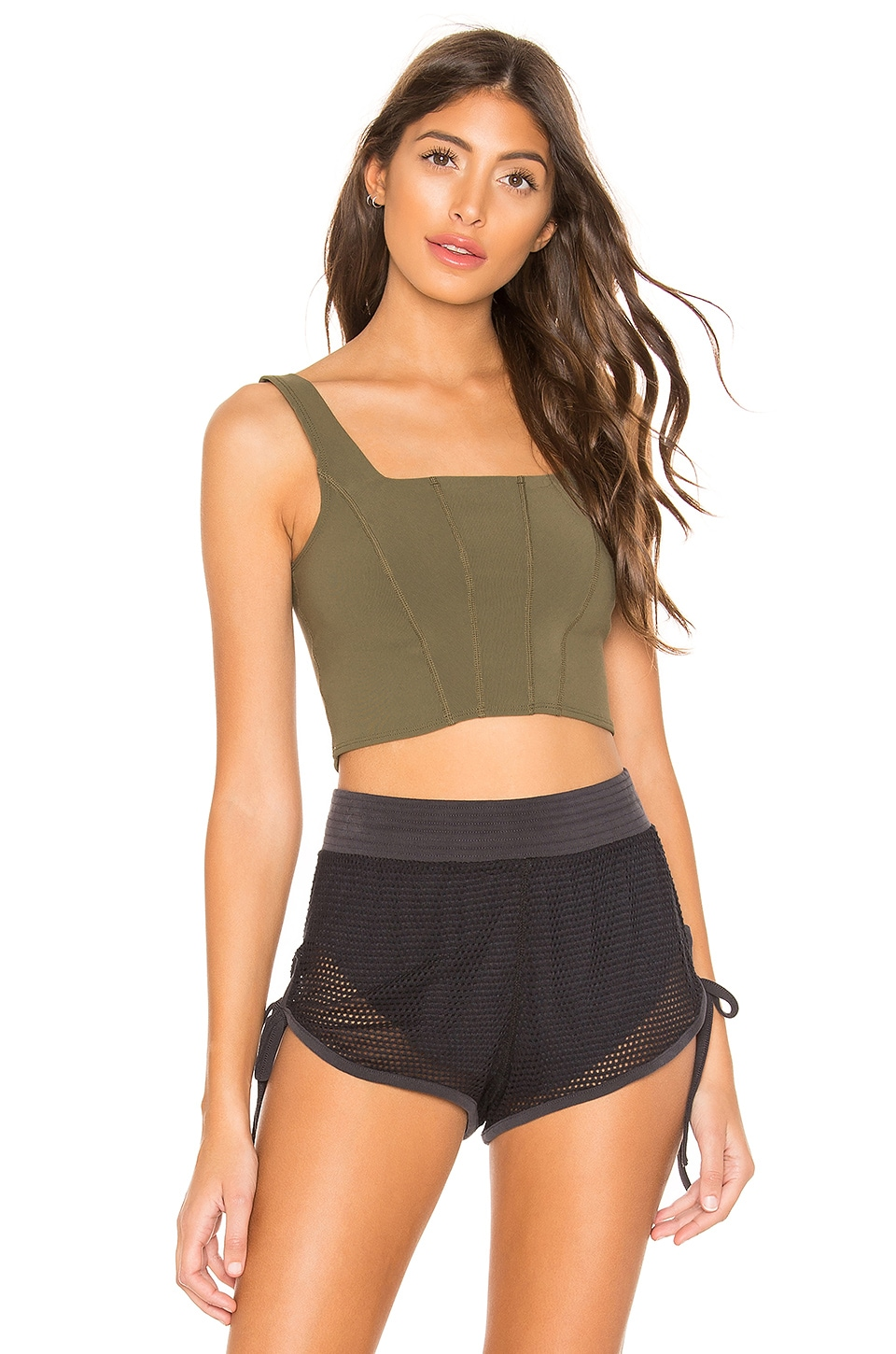 Free People X FP Movement Lyla Crop Tank in Army