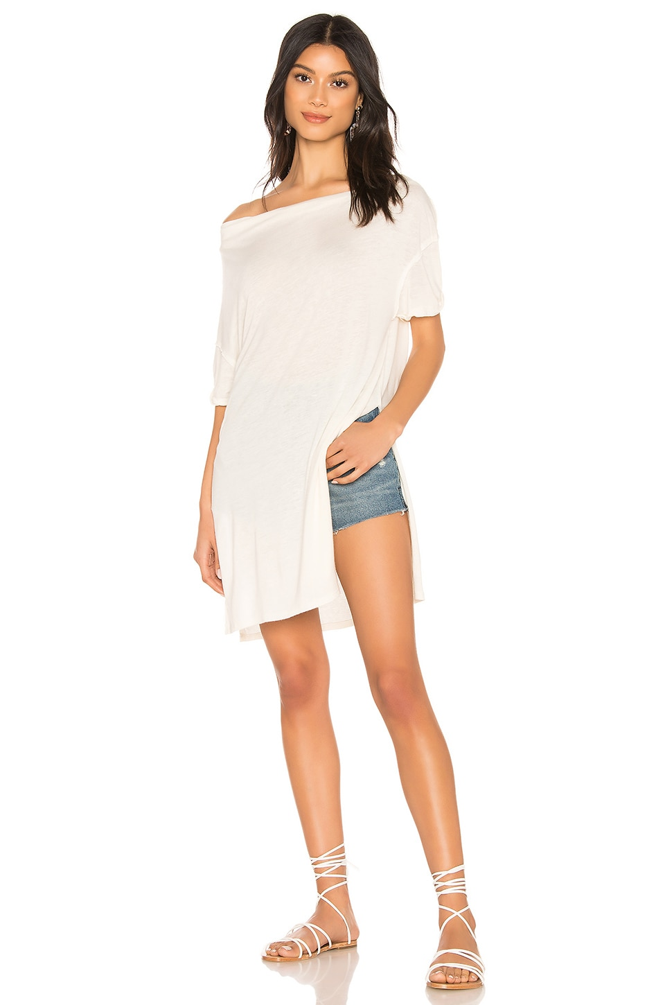 Free People Take It Easy Tee in Ivory