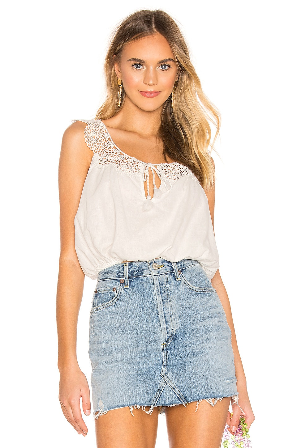 Free People Clover Croft Tank Top in White