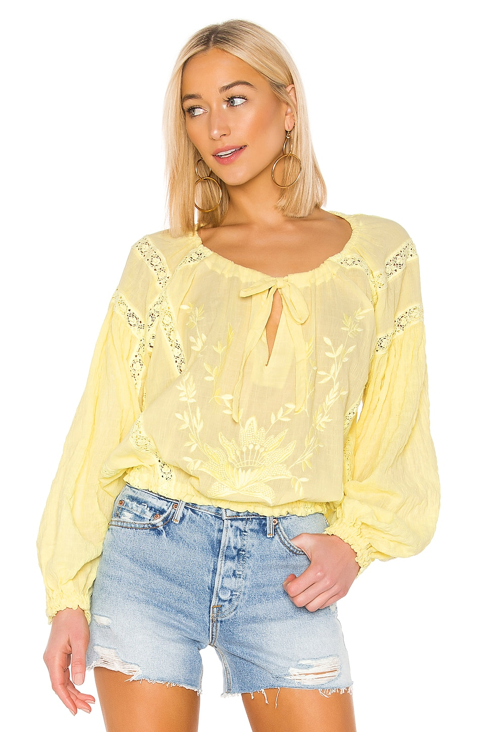Free People Tops FREE PEOPLE MARIA MARIA LACE BLOUSE IN YELLOW.