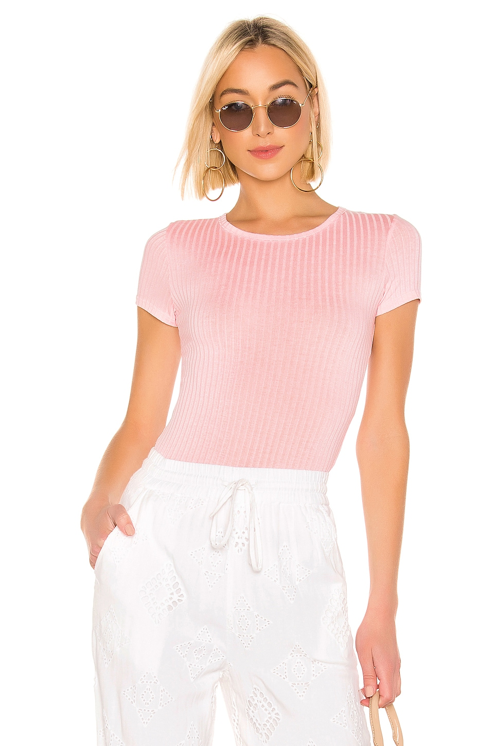 Free People Baby Rib Tee in Rose