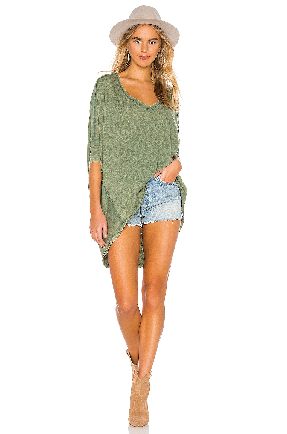 Free People Catch Waves Tee in Army