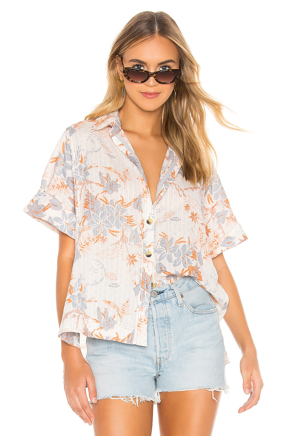Free People Love Letters Button Down in Ivory