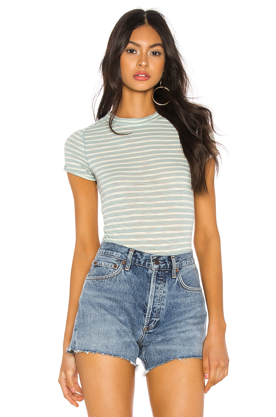 Free People Night Sky Stripe Tee in Green