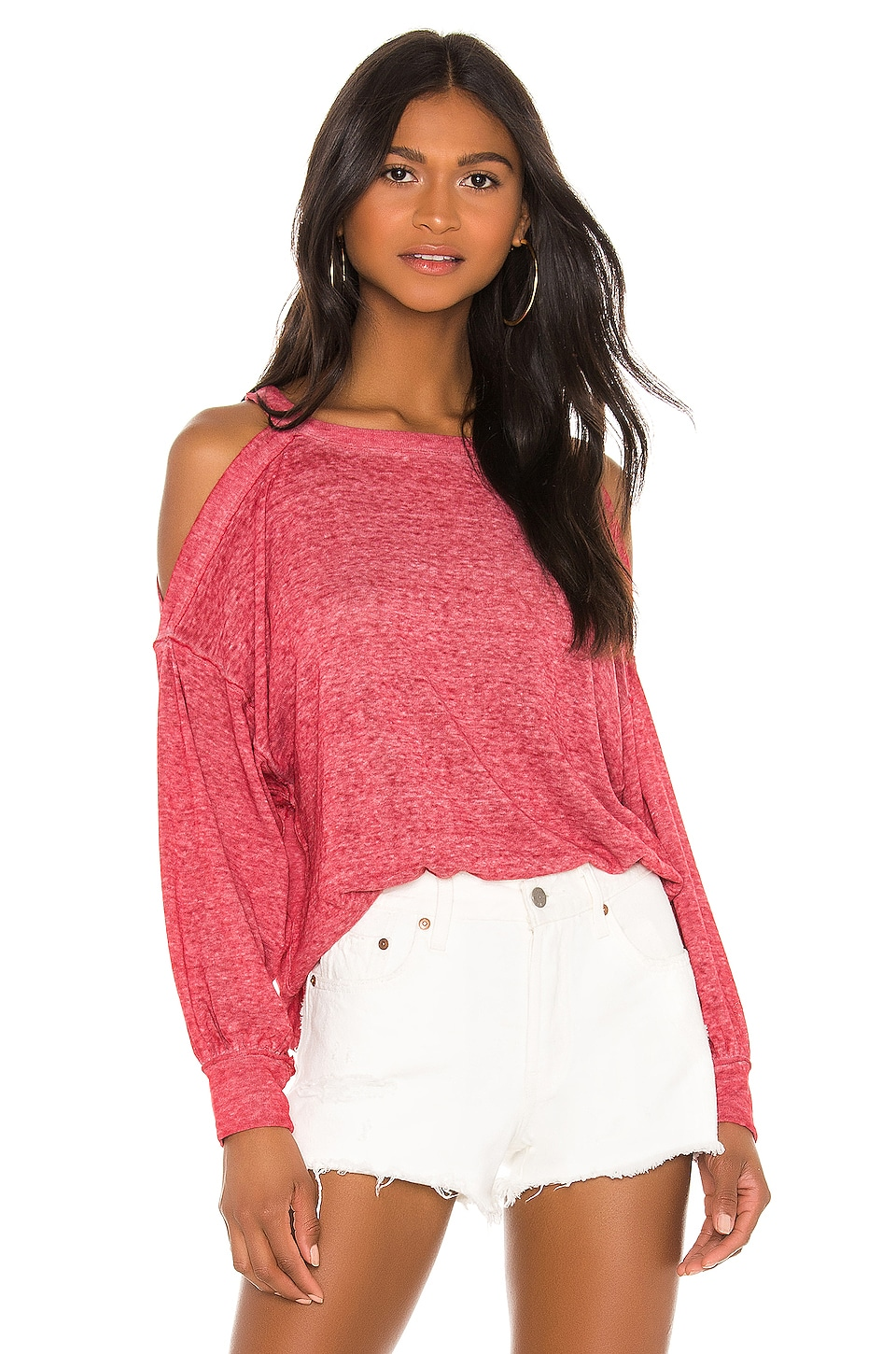 Free People Chill Out Long Sleeve Tee in Red