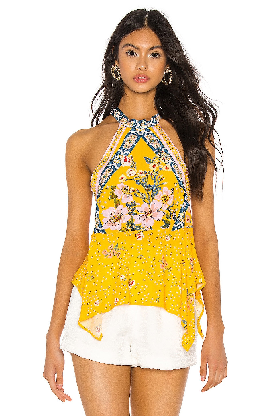 Free People New Wave Halter Top in Yellow