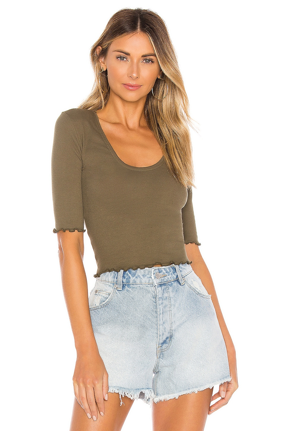 Free People Up All Night Top in Army