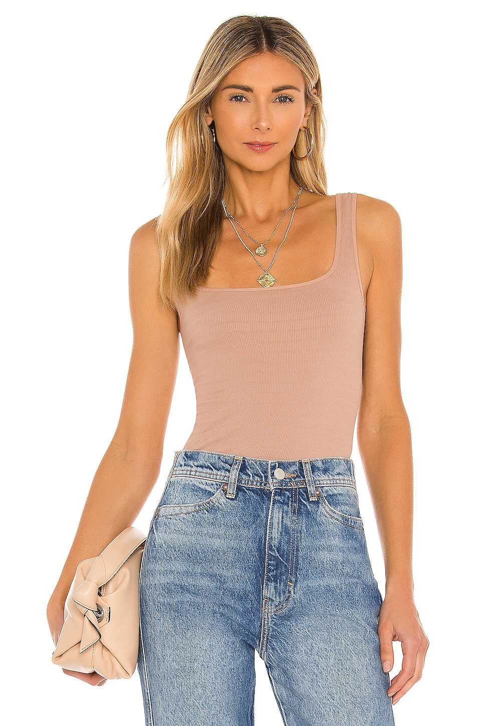 Free People Square One Seamless Cami in Nude