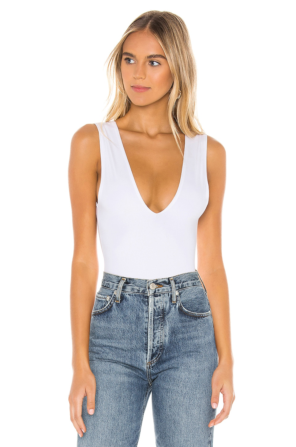 Free People Keep It Sleek Bodysuit in White