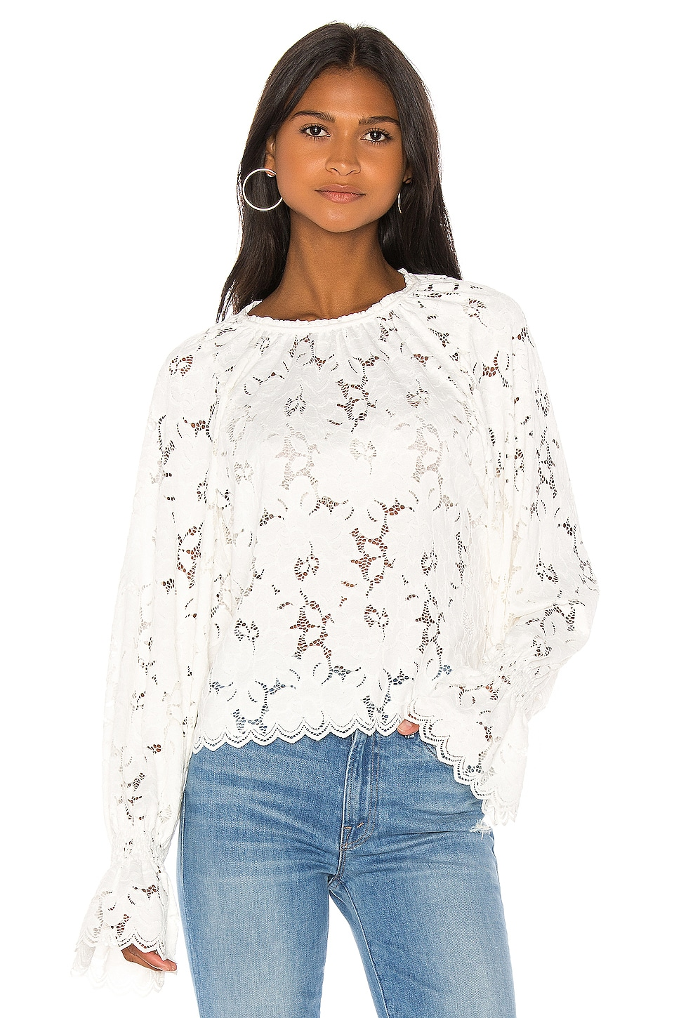 Free People Olivia Lace Tee in Ivory