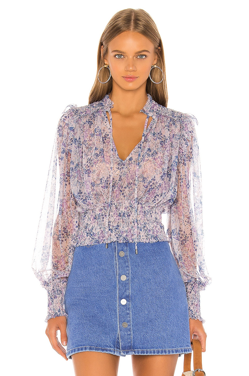 Free People Printed Twyla Top in Lilac