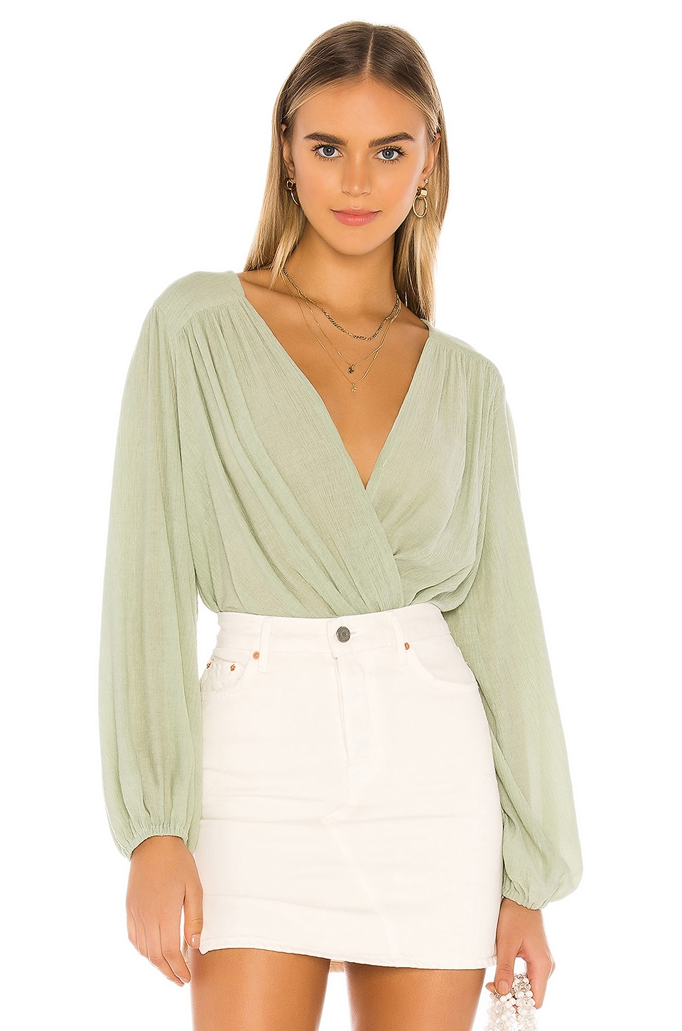 Free People Check On It Wrap Top in Green