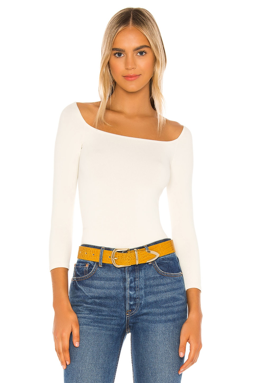 Free People Square Neck Tee in Ivory