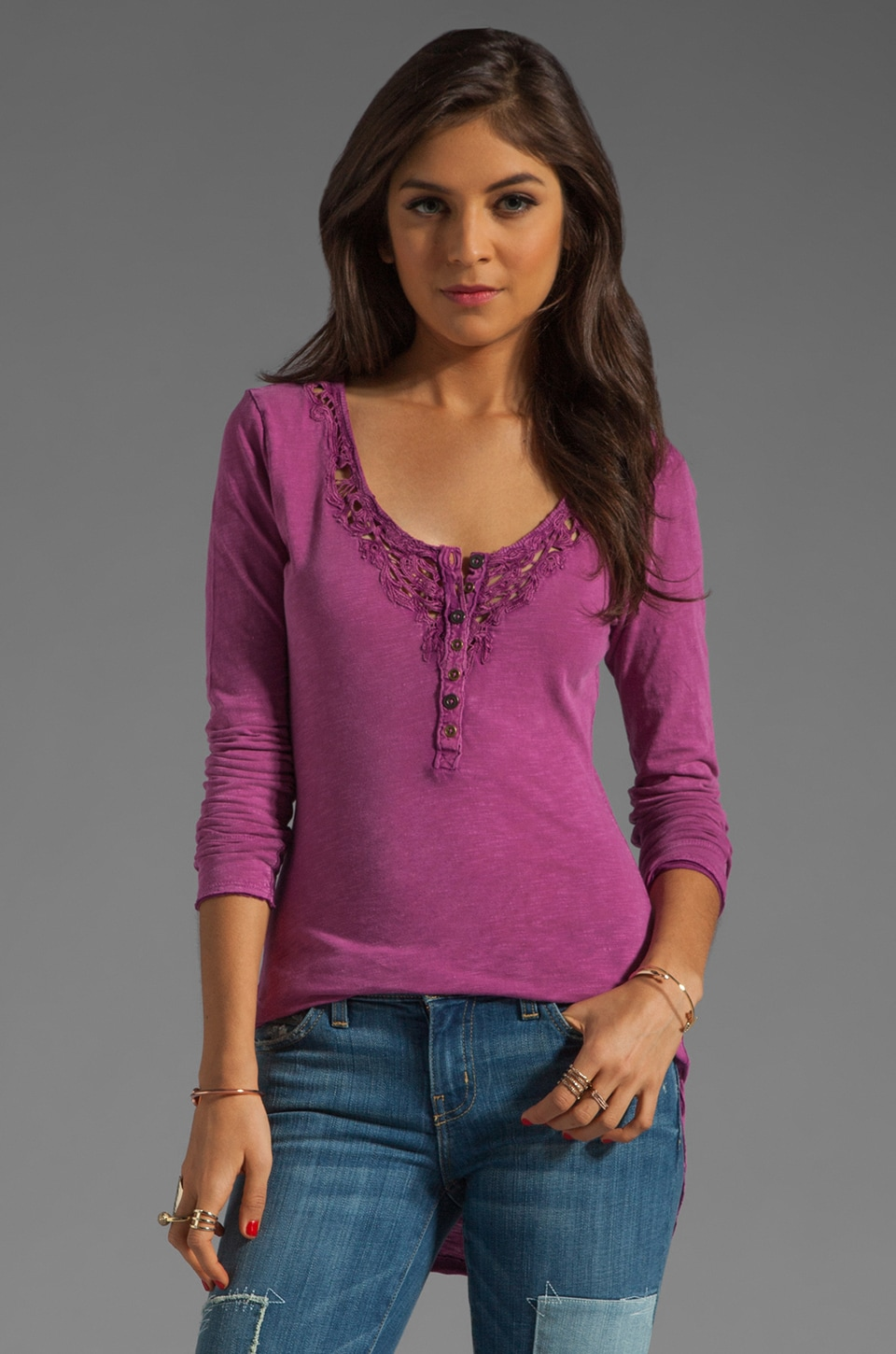 Free People Legacy Crochet Henley Top in Orchid