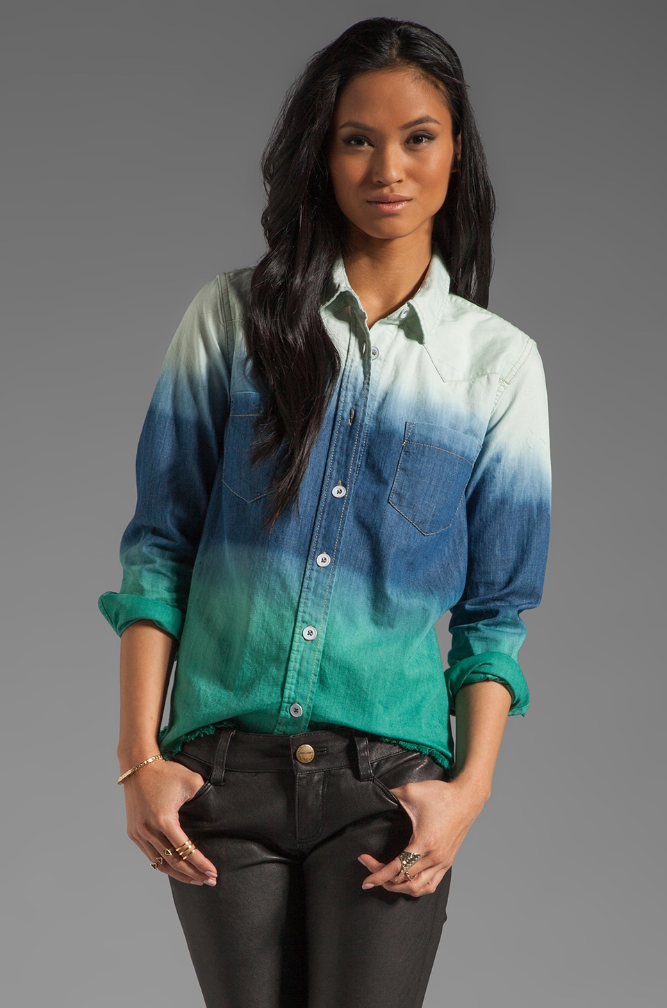 Free People Before Sunrise Button Down in Seascape
