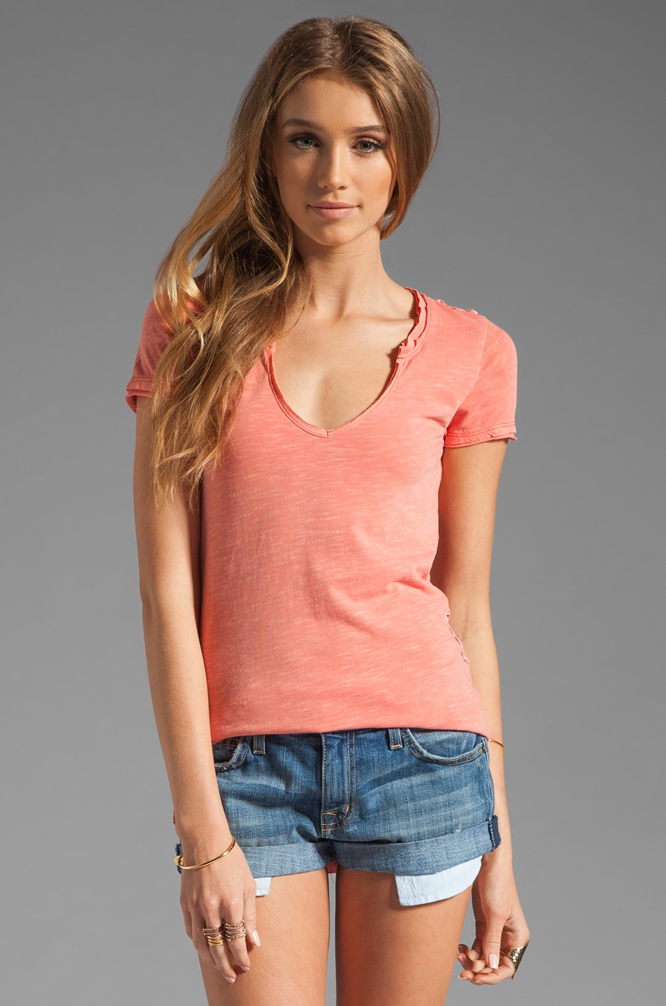 Free People Racer Battenburg Tee in Peach Punch