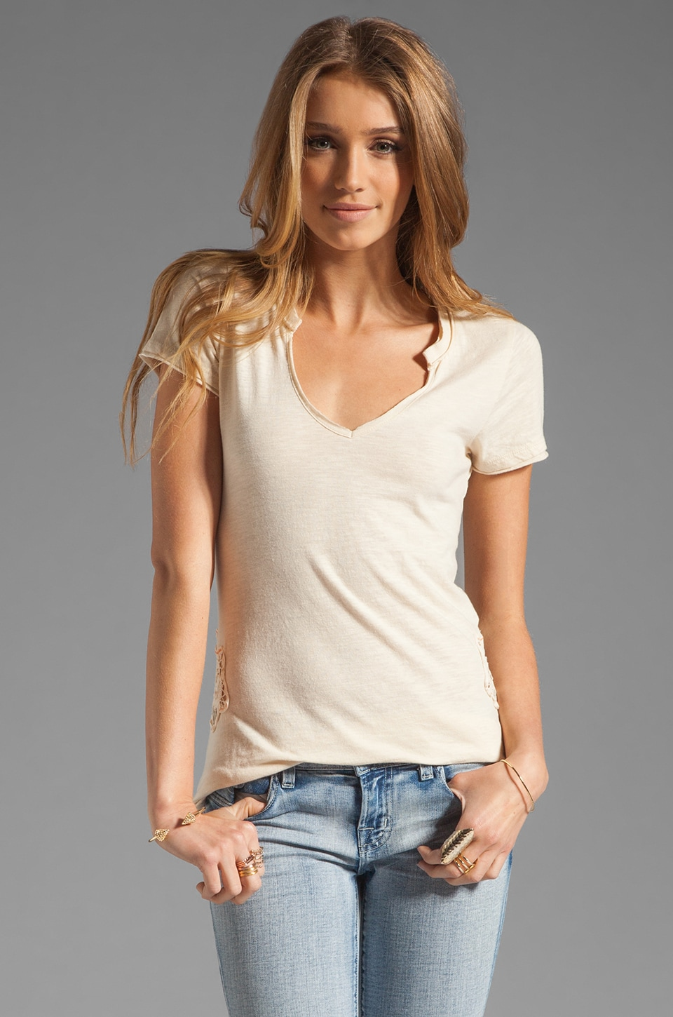 Free People Racer Battenburg Tee in Ivory