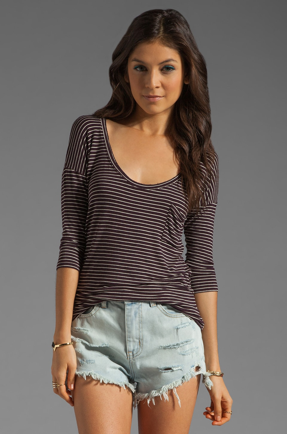 Free People Retro Stripe Tee in Eggplant