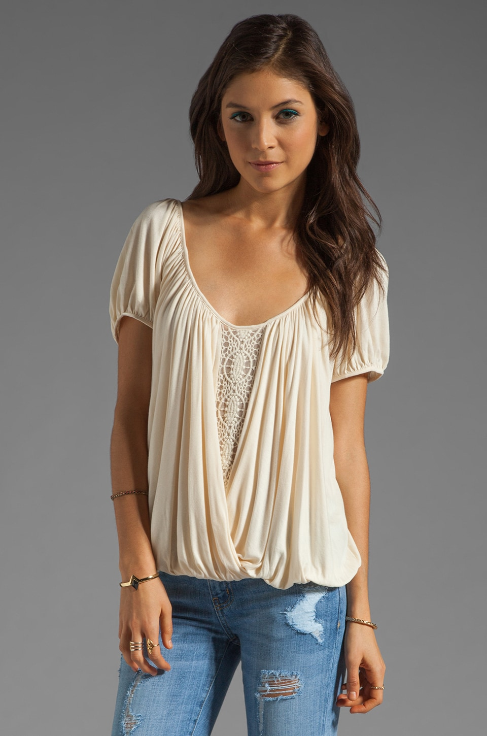 Free People Ann's Ruched Top in Tea