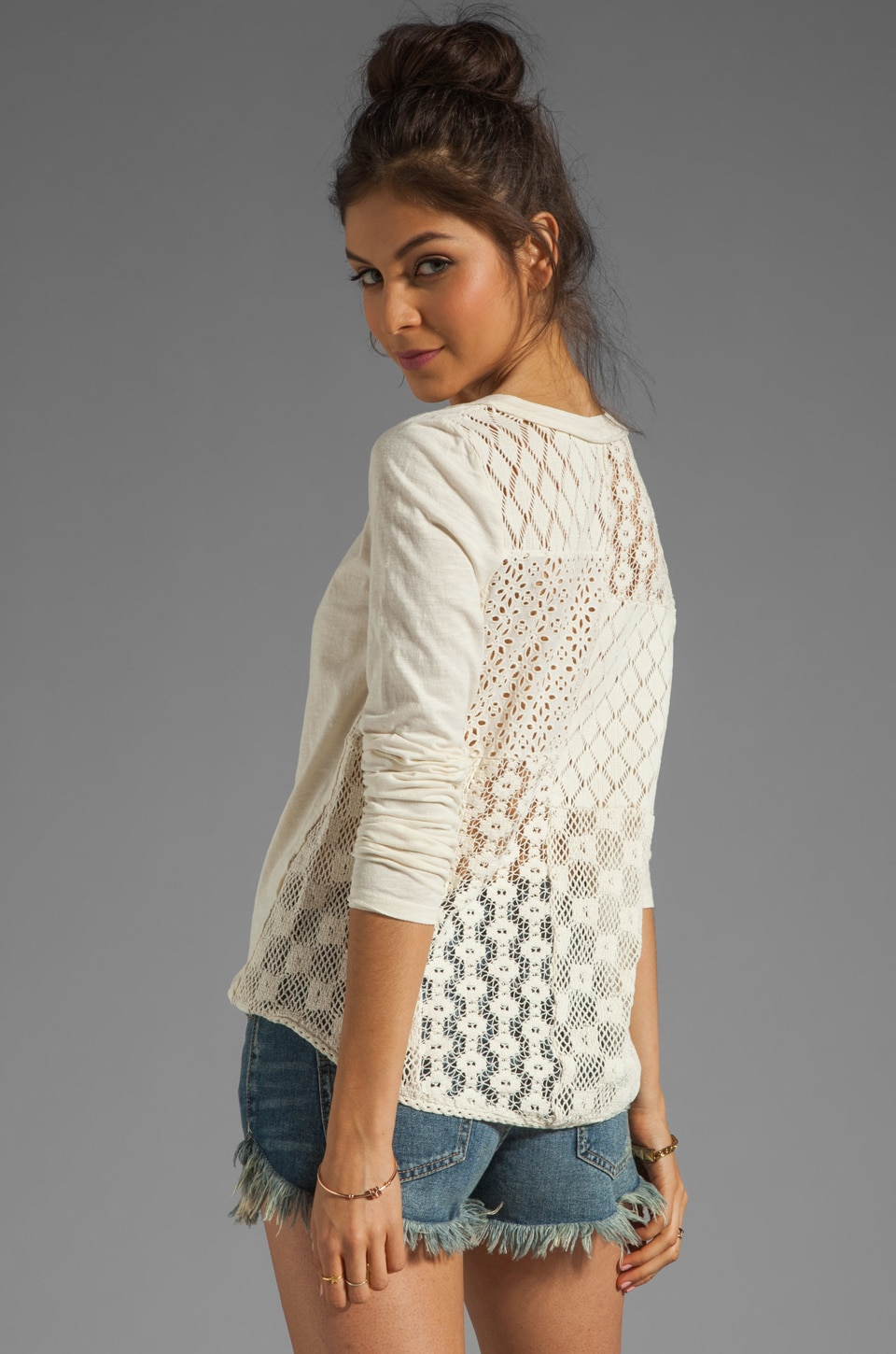 Free People Patches of Lace Henley in Creme