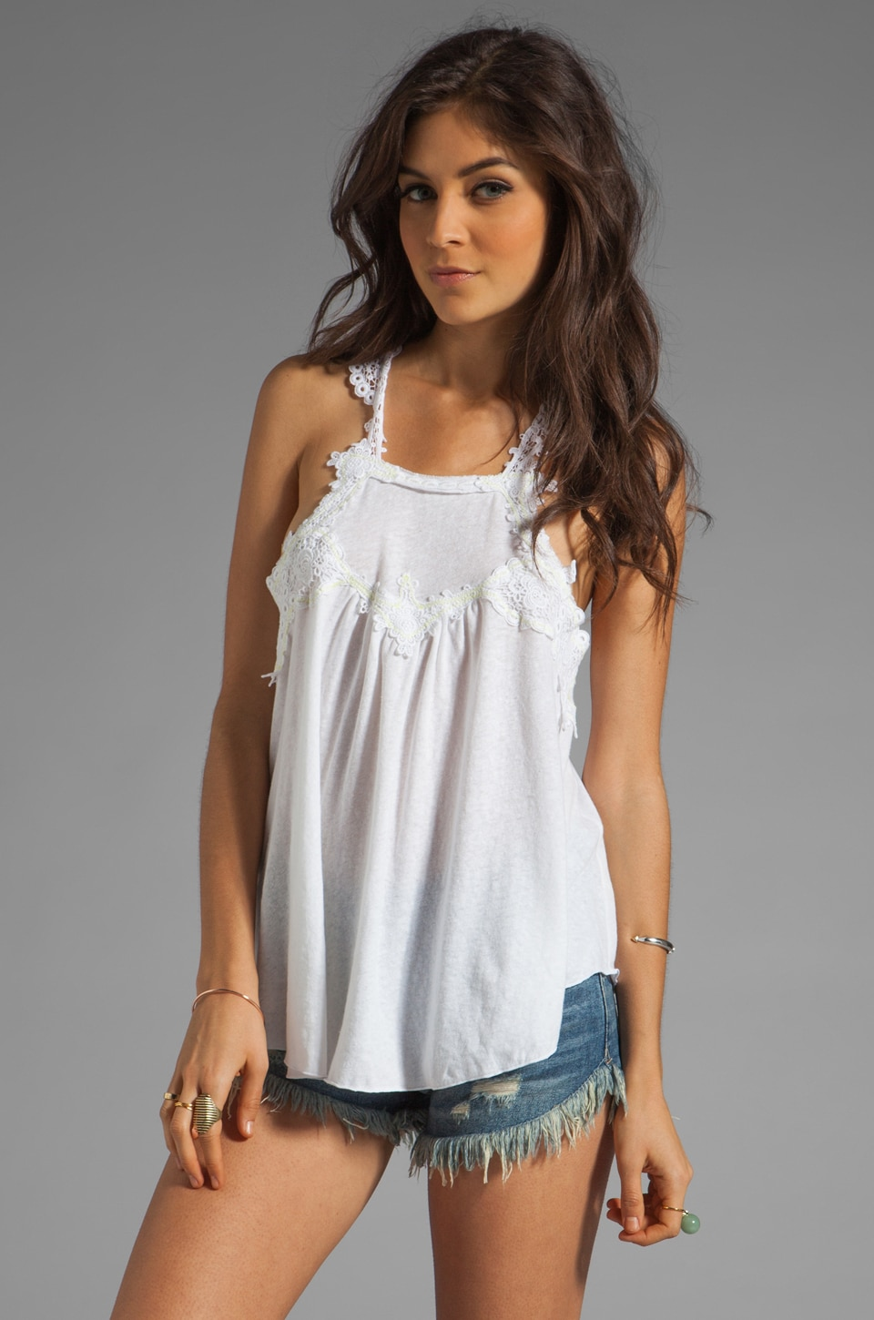 Free People Lacy Day Tank en Blanc