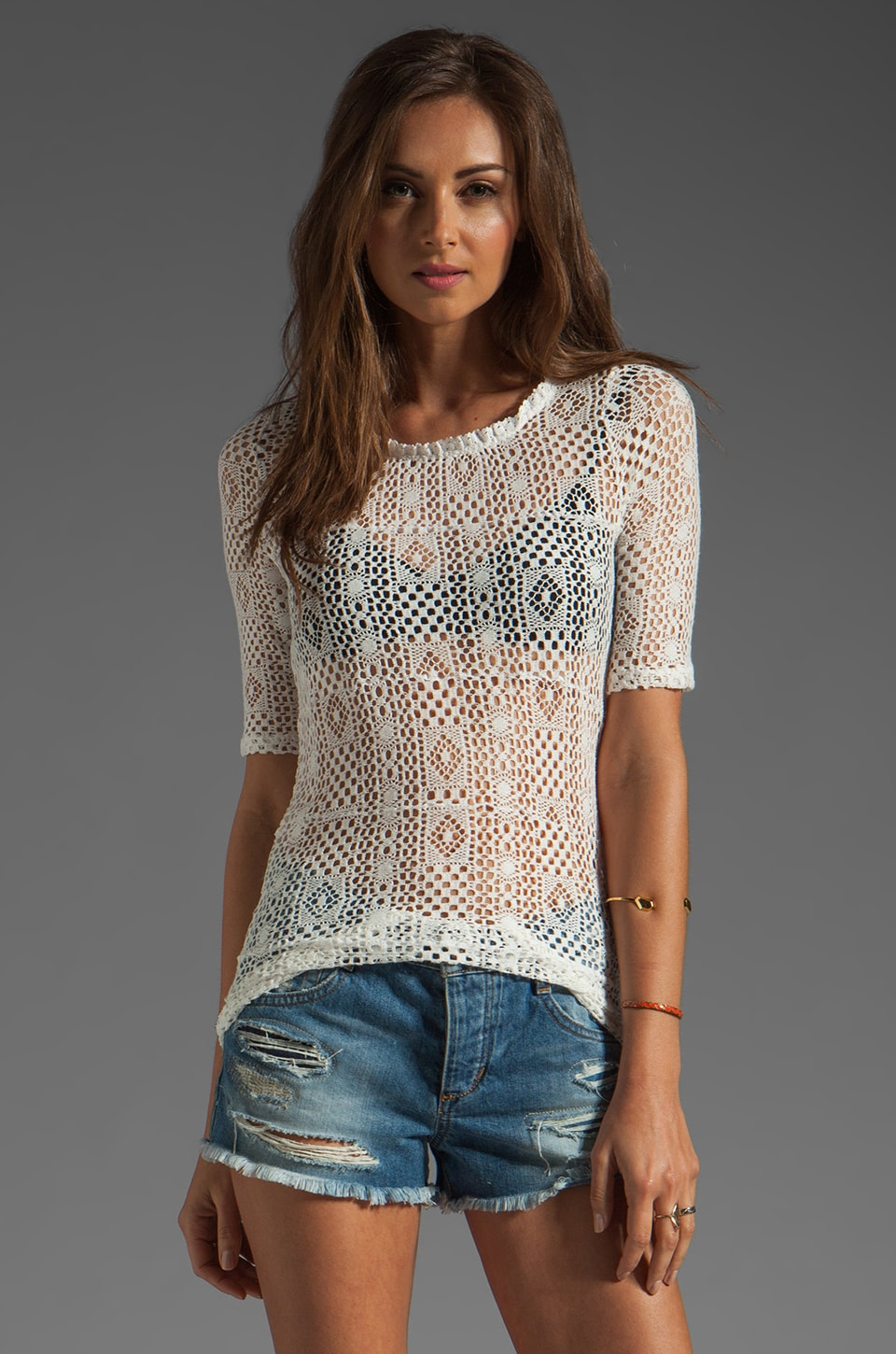 Free People Geolace Top in Ivory Combo