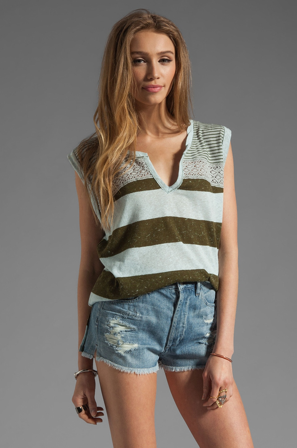 Free People Pieced Mesh Stripe Top in Blue Combo